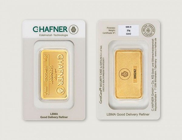 20 g Goldbarren C. Hafner 999 Feingold