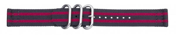 Zulu-Band schwarz / rot 0421