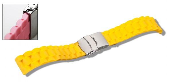 Silikon-Band mit Faltschließe gelb 0565