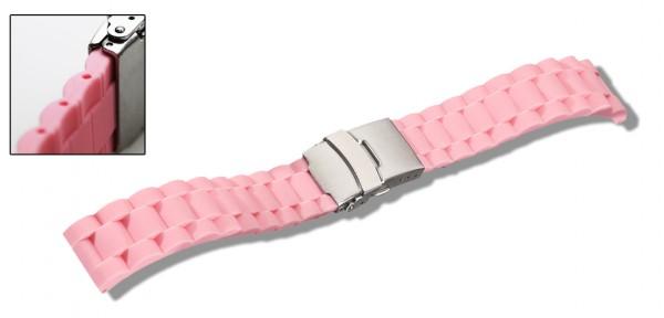 Silikon-Band mit Faltschließe rosa 0566