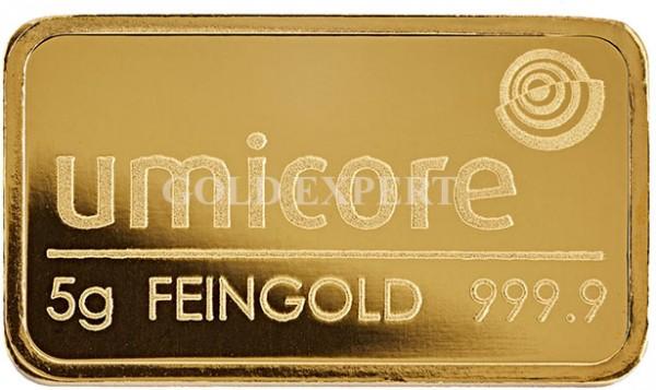 5 g Goldbarren Umicore - 999,9er Feingold