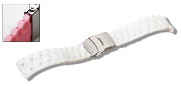 Silikon-Band mit Faltschließe weiß 0567