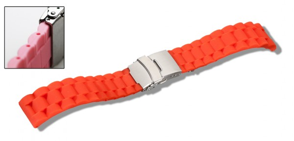 Silikon-Band mit Faltschließe orange 0563
