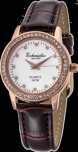 Eichmüller analoge Quartz Damenuhr mit Leder Armband und Strass 3ATM