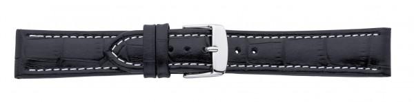 Lederband mit Alligatorprägung schwarz 0721