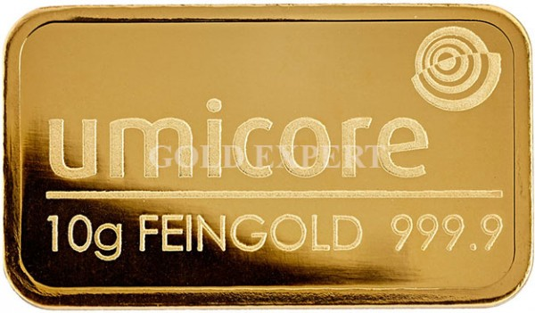 10 g Goldbarren Umicore - 999,9er Feingold